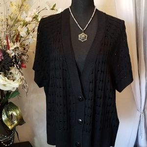 Avenue Plus Size Black Cardigan Sweater